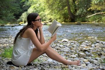 girl, woman, read